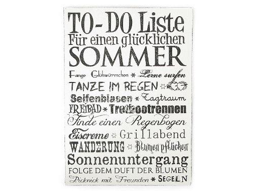 WANDTAFEL Schild Vintage Shabby Dekoschild Holzschild TO DO LISTE für einen glücklichen SOMMER