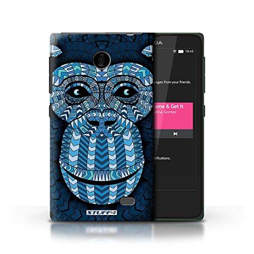 Kobalt® Imprimé Etui / Coque pour Nokia X / Tigre-Couleur conception / Série Motif Animaux Aztec Singe-Bleu