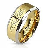 Herrenring Edelstahl Ring Herren Tribal Biker Bandring Gothic schwarz blau gold Autiga® gold 70 - Ø 22,20 mm