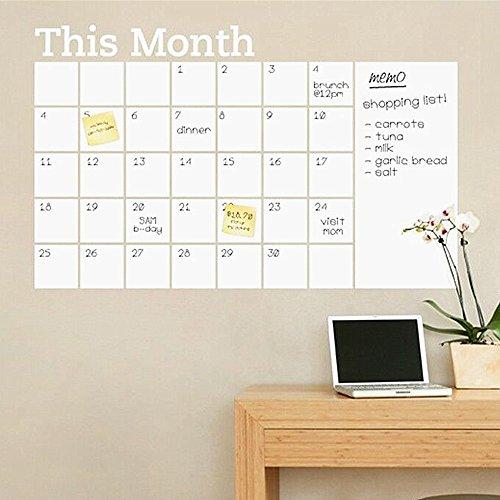 DIY Monat Plan Kalender Tafel Abnehmbarer Wandtattoo Drawing schwarz Board Learning Wand Aufkleber Monatsplaner blanko wiederverwendbar Office Supplies (weiß) (Hundefutter Aufkleber)