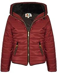 A2Z® 4 chaqueta para niña, chaqueta elegante acolchada con burbujas de piel sintética, cuello acolchado, abrigo grueso y cálido, chaquetas para niños de 3 a 4 años, 5, 6, 7, 8, 9, 10, 11, 12 y 13 años