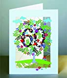 60 Geburtstag Laser Cut Karte 3D Geburtstagskarte Blumen Lebensbaum 16x11cm