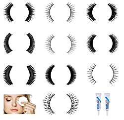 Kelley 10 Pair Thick Hair Waterproof Eye Lashes Mink Collection With 2 Piece Eyelash Clear White Glue And 30 Eye Makeup Remover Wipes