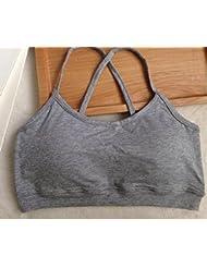 Distinct® Deportes de algodón de las mujeres acolchado sujetador Tops ropa interior ocio cultivo tapa del tanque chaleco (gris)