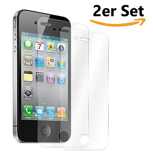 Conie SE1129 2er Set 9H Panzerfolie Kompatibel mit iPhone 4 / 4S, 2X Panzerglas Schutz Folie Anti-Öl, Anti-Finger Print Gorilla Glas für iPhone 4 / 4S Handyfolie (2 Stück) 2X Glasfolie