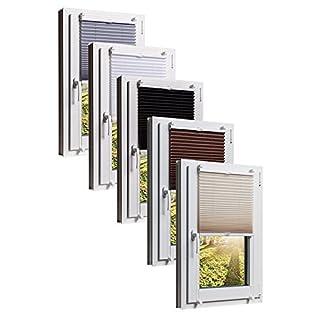 Plissee Klemmfix 5 Farben wählbar Jalousie ohne Bohren Faltrollo Vorhang, Größen Wählbar - Sonnenschutzrollo für Fenster Tür, Fensterrollo, Gardinen - Creme-Beige 60cm x 130cm