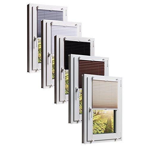 Plissee Klemmfix 3 Farben wählbar Jalousie ohne Bohren Faltrollo Vorhang, Größen Wählbar - Sonnenschutzrollo für Fenster Tür, Fensterrollo, Gardinen - Grau 65cm x 130cm