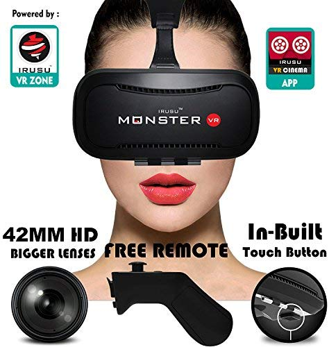 Irusu Monster VR headset with Remote Controller and Conductive Touch Button (Black)