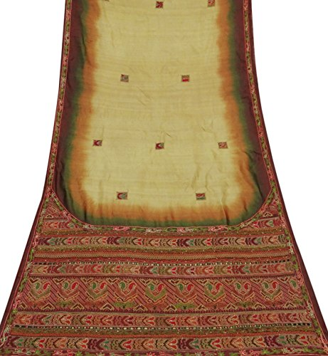 Indian Jahrgang bestickter Art Silk Saree Beige Ethnic Sari Gebraucht Craft Fabric - Art Silk Sari Saree