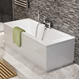1700 mm Luxury Square Double Ended Bath Modern Straight White Bathroom Bathtub
