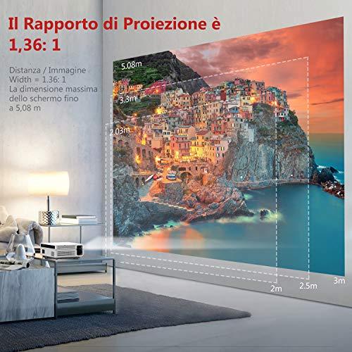 Proiettore Full HD Risoluzione Nativa 1080p a 4000 Lumen, ABOX LCD Mini Videoproiettore Portatile Per Casa /Viaggio/Estero, Compatibile Android / IOS / PS4 / TV Box/ Micro SD