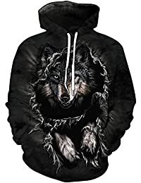 BUSIM Men And Women Long Sleeved Sweater Wolf Head Printed Pullover Long Sleeved Hooded Sweatshirt Lovers Wear...