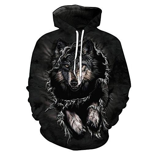 FRAUIT Herren 3D Druck Hoodie Sweatshirt Kapuzenpullover Grafik Langarm Pullover Top Jumper (XXXXXL, Schwarz2)