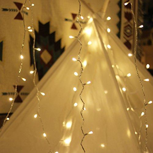 Lichterkette Strombetrieben, von myCozyLite®, 15m mit EU stecker, 100er Warmweiß LED für Innen und Außen Deko wie Weihnachten, Party, Garten, Hochzeit, Erweiterbar, mit 31V DC Transformator und Timer (Wie Ein Dekorieren)
