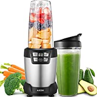 Blender Aicok 1200W, Professional Blenders, Smoothie Maker, 6 Blade Assembly 28,000RPM High Speed with LED touch Button Control, Ice Crush, One 35 Ounce and One 28 Ounce BPA-Free Tritan Bottles