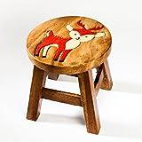 Robuster Kinderhocker/Kinderstuhl massiv aus Holz mit Tiermotiv Reh, Hirsch, 25 cm Sitzhöhe