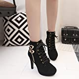 Women Ankle Boots , Xinantime Sexy High Heels Thin Heel Lace-Up Platform Shoes