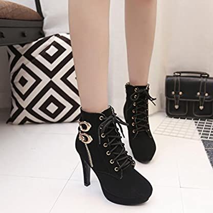 ❤️ Women Ankle Boots, Xinantime 2018 Newest Ladies Sexy High Heels Boots Thin Heel Lace-Up Platform Shoes Boots Black
