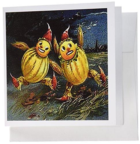 3dRose Gc_6046_2 Grußkarten, Vintage-Halloween-Vogelscheuchen, Laufen, 12 Stück