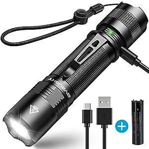 1000 Lumen BYBLIGHT F13 HOCHWERTIGE LED Taschenlampe, USB AUFLADBAR,IP65 Wasserdicht, Super Helle Cree XM-L2 LED, 4 Modi…