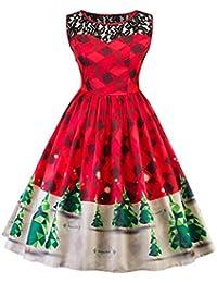 66c758387d Oksale Women's Print Lace Christmas Tree Firefly Checkered Vintage Swing  Dress