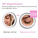 Beautural 10X Magnifying Lighted Vanity Makeup Mirror with Natural White LED, 360 Degree Swivel Rotation and Suction Cup, 6.89inches