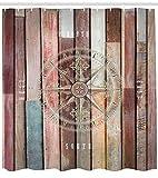 Abakuhaus Duschvorhang, Marine See Life Yacht Thema Farbigen Holz Kulisse mit Ruder und Kompass Bild Digital Druck, Blickdicht aus Stoff inkl. 12 Ringe für das Badezimmer Waschbar, 175 X 200 cm