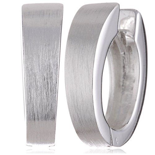 Vinani Klapp-Creolen oval mattiert glänzend Sterling Silber 925 Ohrringe COM