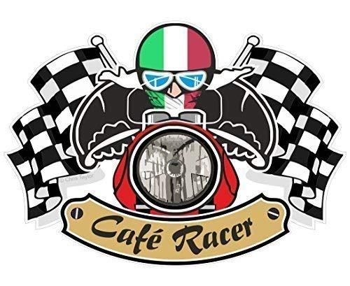 Rétro Cafe Racer Tonnellate UP Motociclista Design Con Italia il Bandiera Tricolore per Italiano Moto Vinile Auto Moto Decalcomania Adesivo Casco 90x65mm