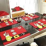 Tourwin Natale tovagliette Babbo Natale tovagliette tavolo supporto del sacchetto di coltelli e forchette da tavola, decorazione da tavolo per sala da pranzo-Set di 4 Table Mats