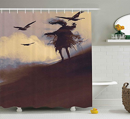 n, Dark Soul from a Scary Movie on The Hills with Clouds and Flying Crows Print, Fabric Bathroom Decor Set with Hooks, 72x72 inches, Brown Mauve Begie ()