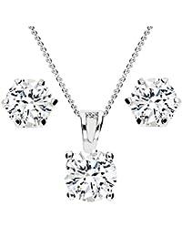 MYA art Damen Schmuckset Kette Set Ohrringe 925 Silber mit Swarovski  Elements oder Zirkonia Stein f636477cc2