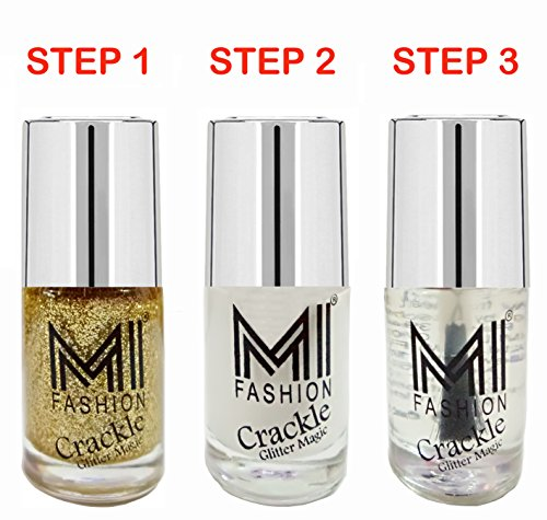 MI Fashion® Professional Crackle Golden Glitter Magic 3Pcs Long Stay Nail Polish
