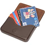 Dahsha stylish pocket sized stitched Leather visiting Card Holder for keeping business cards, debit cards, credit card - Brown