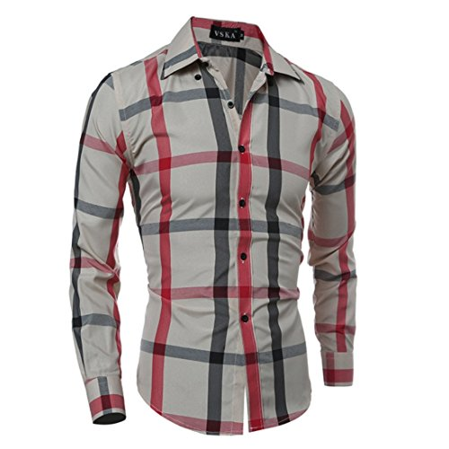 Men's Chemise Homme Masculina Slim Fit Dress Shirts Red rice