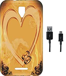 BKDT Marketing Printed Soft Back Cover Combo for Micromax Bolt Q327 With Charging Cable