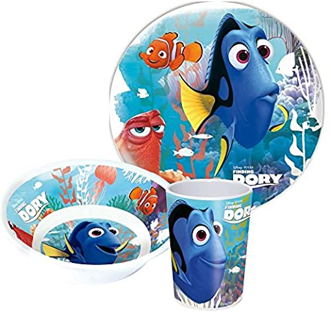 Disney Findet Dory Melamine Children's Dinner Plate, Cereal Bowl And Drinking Cup
