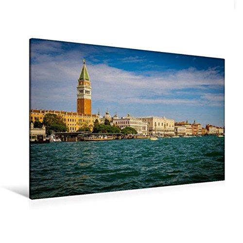 Calvendo Premium Textil-Leinwand 120 cm x 80 cm quer, Blick vom Canale Della Giudecca zum Piazzetta San Marco | Wandbild, Bild auf Keilrahmen, Fertigbild auf echter Leinwand, Leinwanddruck Orte Orte