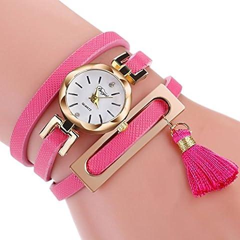 Minshao Mode Multi couches simili cuir Band Taseel Pendentif à quartz Bracelet montre-bracelet pour coffret cadeau pour femme rose
