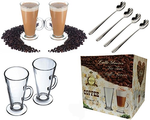 LATTE GLASS TEA COFFEE CUP MUG (Fits Tassimo & Dolce Gusto) Size Large SET of 4 + 4 Spoons