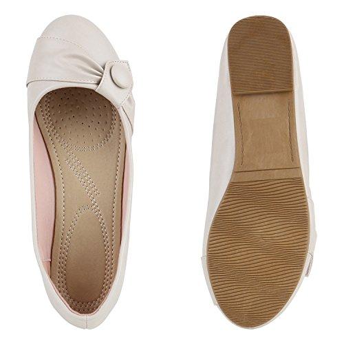 Klassische Damen Ballerinas | Lederoptik Flats | Schuhe Übergrößen | Flache Slipper | Spitze Prints Strass Creme Knopf