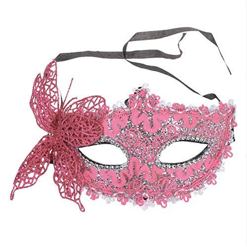 Shuangklei Sexy Frauen Lace Mask Venezianischen Masquerade Ball Party Karneval Gesicht, Auge (Pink) (Masquerade Maske, Gesicht-aufkleber)