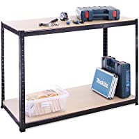 120cm Wide, 60cm deep, 90cm High, Black Garage Shed Racking Storage Workbench, 5 Year Warranty, 300KG Per Shelf Capacity - ukpricecomparsion.eu