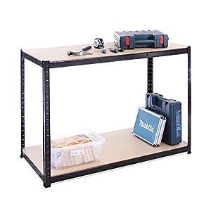 G-Rack 0019 Estantería Garaje Cobertizo de Almacenamiento Banco de Trabajo, 300 kg por Estante Capacidad, 120 cm de Ancho, 60 cm de Altura, 90 cm de Alto, Negro
