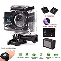 Waterproof 4K Ultra HD Wifi Sports Camera 2.0 Inch 1080P Super Lens with 2.4G Wireless Remote