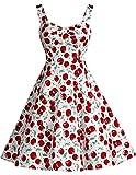 Dresstells Schultergurt 1950er Retro Schwingen Pinup Rockabilly Kleid Faltenrock White Big Cherry M