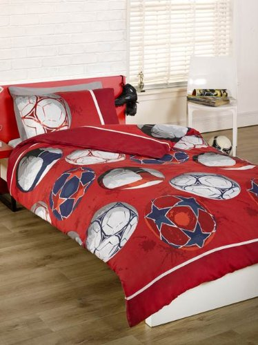Football simple housse de couette et taie d'oreiller Set – Rouge