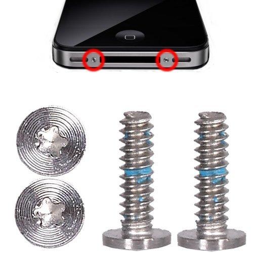 iPhone 4 / 4S 2x Pentalobe Torx Schrauben Set Silber - Silver (Iphone 4 Schrauben)