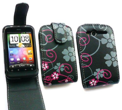 Emartbuy Htc Wildfire S (G13) Premium Pink Stiefmütterchen Flip Case / Cover / Tasche Und Lcd Screen Protector