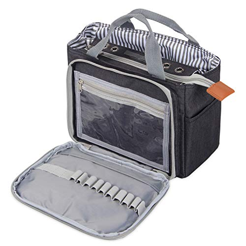 Luxja häkeln Einkaufstasche, tragbare Garn Aufbewahrungstasche für kleine unvollendete Projekte, Häkelnadeln und anderes Zubehör (kein Zubehör enthalten), (schwarz)